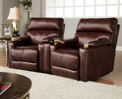 theater seating group with 2 lay flat recliners and cup holders by