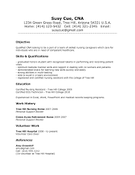 Cna Resume Cover Letter Objective Sample 2015 Certified Nursing Susy