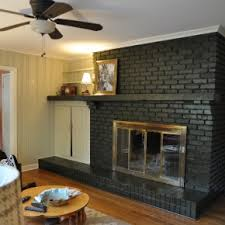 Wonderful White Color Brick Wall Panels Painted Fireplace Added Wooden Shelf As