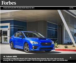 2017 Subaru WRX Is The Only Car That Retains The Most Resale Value ... The Motoring World Usa Ford Takes The Best Truck Honours At This Week In Car Buying Trucks Drive Sales Prices Higher Kelley Kelly Blue Book Names Overall Brand Fordtruckscom Pickup Buy Of 10 Best Pickup Truck Dodge New Luxury Ram Kbb Month Announces Winners Of Allnew 2015 Awards Cars And That Will Return Highest Resale Values Diesel Dig Enterprise Promotion First Nebraska Credit Union Used Guide Apriljune Amazing Old Pattern Classic Ideas