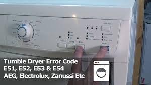 tumble dryer error code e51 e52 e53 e54 electrolux aeg