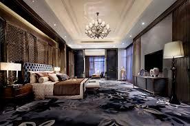 Brushed Bronze Bedroom Chandelier Over Tufted Master Bed And Bench