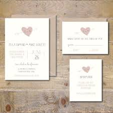 Recycled Wedding Invitations Rustic Heart And Arrow Romantic Invitation Suite Illustrated Blush Pink