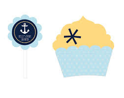 Picture Of Nautical Baby Shower Cupcake Wrappers Toppers Set