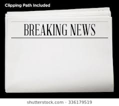 Newspaper With Breaking News Headline And Blank Content Isolated Clipping Path