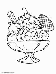 Minnie Mouse A Large Portion Of Ice Cream Coloring Printable Page