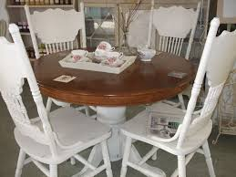 100 Oak Pedestal Table And Chairs Pedestal Table And Four Ornate Chairs Painted In Annie Sloan