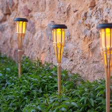 Citronella Oil Lamps Uk by Set Of 10 Large Solar Powered Led Bamboo Garden Torches By