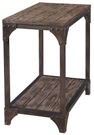 powell benjamin industrial chairside table with one shelf