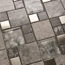 metal mosaic tile mirror kitchen backsplash metal glass