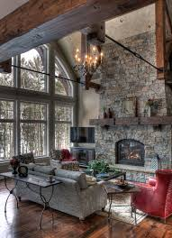 Arched Fireplace In Rustic Living Room With Window And Dark Wood Floor Also Gray Sofa Reclaimed Mantel