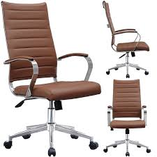 2xhome modern brown high back office chair ribbed pu leather