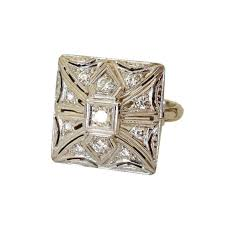 deco square rings 1940 s deco square top 14k and ring tops deco
