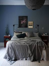 Bedroom Blue Walls Grey Bedspread Black Spherical Light Fitting Love This Colour