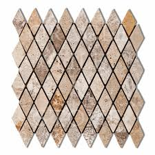 Oracle Tile And Stone by Andean Cream Travertine Diamond Rhomboid Mosaic Tile Oracle