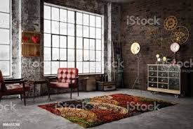 cozy industrial style interior stock photo image now