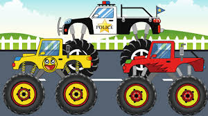 100 Destroyer Monster Truck Compilation Monster Trucks Police Destroyer And Happy Monster