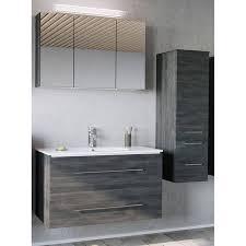 badezimmer komplett set in graphit struktur abuja 02 mit 100cm keramik waschtisch led spiegelschrank b h t 151 200 45cm
