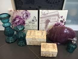 deko set badezimmer kerzenständer bilder fisch lila türkis