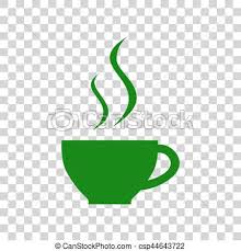 Cup Of Coffee Sign Dark Green Icon On Transparent Background