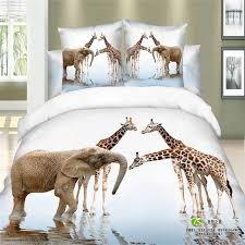 Unique Modern 3d Animal Print Elephant and Giraffe Bedding Set