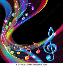 Clipart Of Colorful Abstract Notes Music Background K14482062