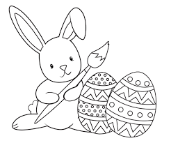 HoppyEasterColoringPage Bunny Painting Eggs Coloring Page Paintingbunny