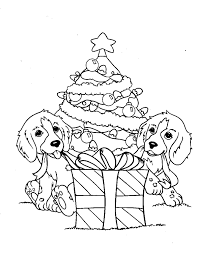 Dog Coloring Pages Christmas Tree And Gift