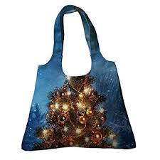 Custom Christmas Tree With Lights In Winter Happy New Year Canvas Shoulder Bags Handbags Tote