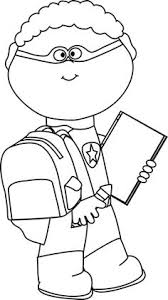 go to school clipart black and white 7