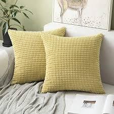 miulee 2er set kissen kordsamt kissenbezüge kissenbezug polyester weich bequem für s wohnzimmer schlafzimmer dekor gelb 18x18inch 45x45cm