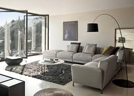 lovable leather sectional living room ideas with grey cotton