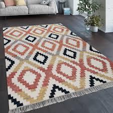 teppich wohnzimmer boho fransen handgewebt wolle baumwolle