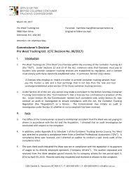 Commissioner's Decision Pro West Trucking Ltd. (CTC Decision No. 06 ...
