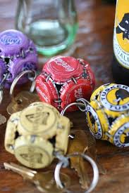 Creative Key Rings Decorated With Bottle Caps