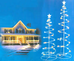 Set Of 2 Multi Color LED Lighted Spiral Christmas Trees Outdoor Decorations 3 4