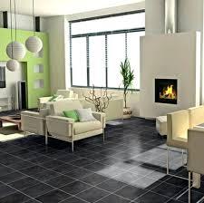 Surprising Contemporary Room Design With Black Slate Flooring Photo