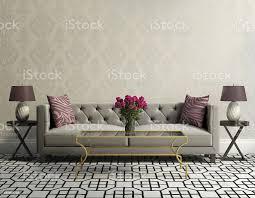 vintage klassisch eleganten wohnzimmer mit grauem samt sofa stockfoto und mehr bilder altertümlich