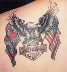 American And Harley Davidson Tattoos On Entire Back Photo