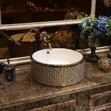 gold mosaik porzellan keramik waschbecken für badezimmer waschbecken schwarz farbe chinesische zähler top waschbecken