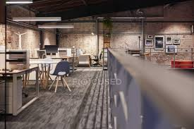 interior of a modern industrial style loft office nobody