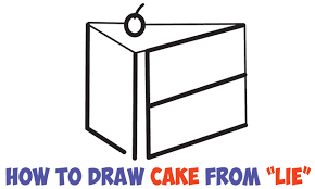 """How to Draw a Piece of Cake from the Word """"LIE"""" for a Silly Joke Easy Step by Step Drawing Tutorial for Kids"""