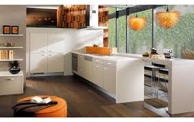 Image Of White Kitchen With Orange Coral Accessories