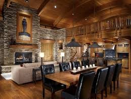 Rustic Open Floor Plans Dining Room With Wood Fireplace Mantel Recessed Lighting Ceiling