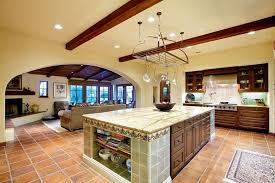 Spanish Style Kitchen Design With Terra Cotta Tiles Rustic Wood Tile Island