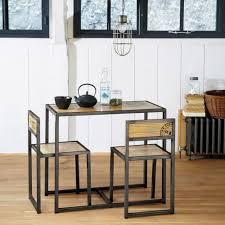 hochtisch 2 stühle aus mangoholz und metall b90 maisons du monde