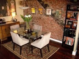 Toronto Rustic Round Dining Room With Brick Accent Wall Turquoise