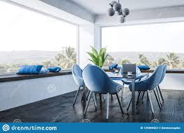 White Dining Room, Blue Chairs Stock Illustration ...