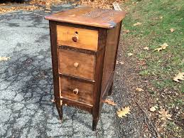 narrow wooden three drawer end table nightstand Attainable Vintage