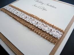 Matt Ivory Pocketcard Wedding Invitation With Hessian And Lace On The Cover